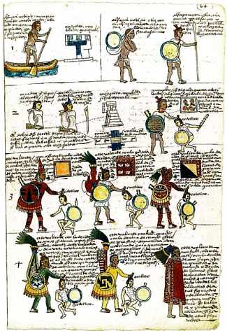 Aztec warriors from the Codex Mendoza