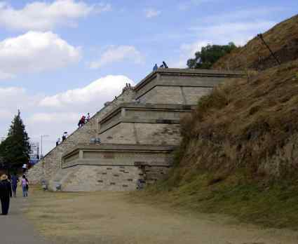 An excavated and restored side of the great Cholula Pyramid