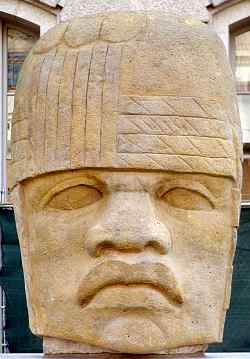 A great stone head from the Olmec civilization
