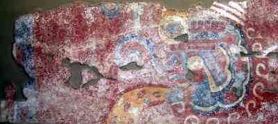 Fresco from Teotihuacan, showing a snake in a headdress
